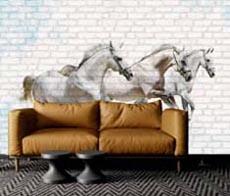 3 At Resim Baskılı Panel