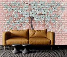 Mavi Ağaç Resim Baskılı Panel