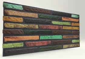 Koyu Renkli İnce Tuğla Desenli Strafor Duvar Paneli
