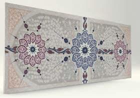 Selçuklu Çini Desenli Beyaz Strafor Duvar Paneli